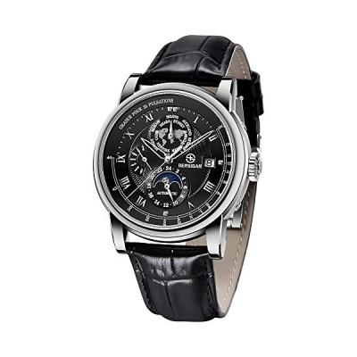 BERSIGAR Men's Classic Mechanical Watch Waterproof Automatic Watch Men's Simulation Casual Leather Strap Mechanical Watch 並行輸入品