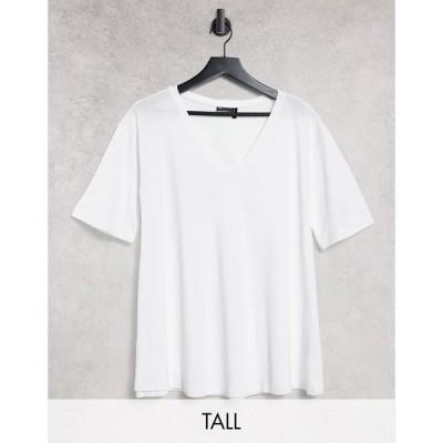 エイソス ASOS Tall レディース Tシャツ Vネック トップス ASOS DESIGN Tall swing t-shirt with v neck in white ホワイト