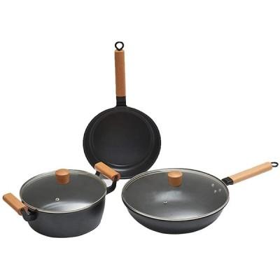 ノンスティック調理器具セット、鉄製鍋とフライパン、フライパンと鍋セット、誘導を含むすべてのストーブに適しています、3PCS