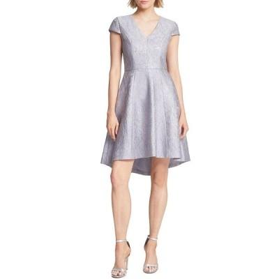 ホルストンヘリテイジ レディース ワンピース トップス Floral Metallic Jacquard V-Neck Cap Sleeve Hi-Low Dress Silver Grey
