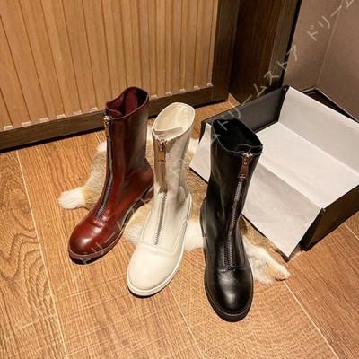 ブーツ レディース 本革 ロングブーツ 美脚 フロントジップ 履きやすい シンプル 長靴 カジュアル 歩きやすく 大きいサイズ 滑り止め 防水 シンプル ロング
