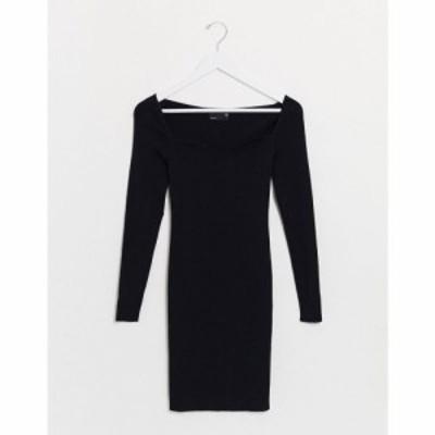 エイソス ASOS DESIGN レディース ワンピース ミニ丈 ワンピース・ドレス structured knitted mini dress with open sweetheart neck ブ