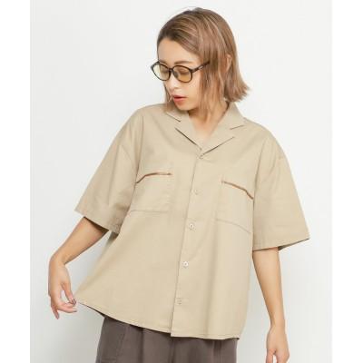 【ダブルネーム】 BACK刺繍シャツ レディース ベージュ FREE DOUBLE NAME