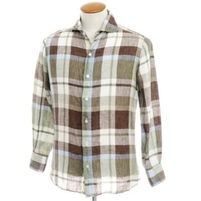 フィナモレ Finamore リネン チェック ワイドカラーシャツ モスグリーン×ブラウン M