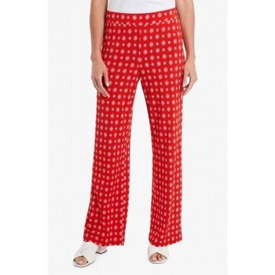 ヴィンスカムート カジュアルパンツ ボトムス レディース Women's Textured Foulard Straight Leg Pull On Pants Crimson Red