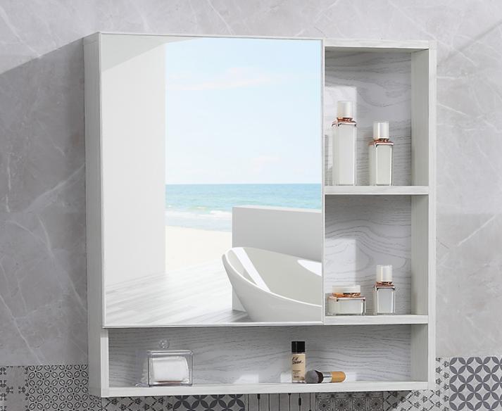 鏡子 鏡櫃 收納櫃60*68太空鋁鏡箱 隱藏式推拉 浴室鏡櫃 掛墻式衛生間鏡子帶置物架廁所梳妝鏡箱