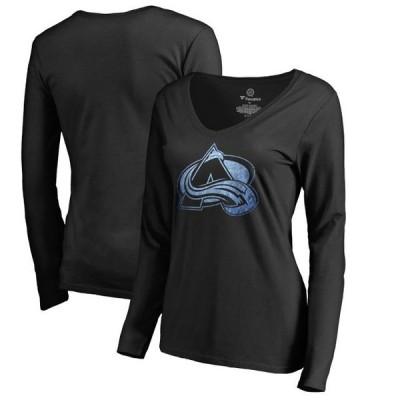 レディース スポーツリーグ ホッケー Colorado Avalanche Women's Pond Hockey Long Sleeve T-Shirt - Black Tシャツ