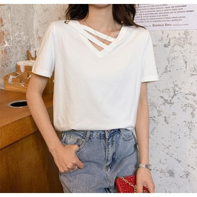 Tシャツレディースきれいめ40代春夏上品半袖Tシャツブラウス綿白トップスVネックオシャレ韓国風大きいサイズゆったりカットソー4色Tシャツ