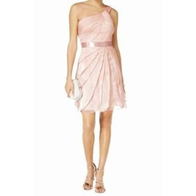 Adrianna Papell アドリアーナ パペル ファッション ドレス Adrianna Papell NEW Pink Women 8 One-Shoulder Chiffon Sheath Dress