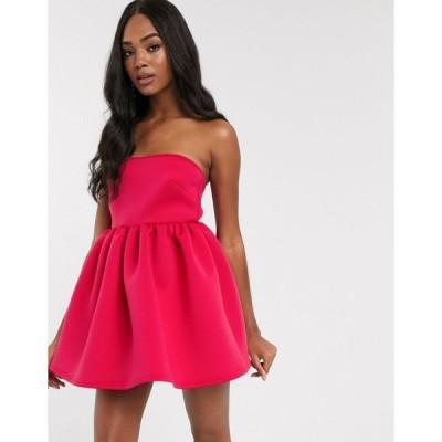 トゥルーバイオレット ミディドレス レディース True Violet super mini prom dress with built in bodysuit in fuchsia エイソス ASOS