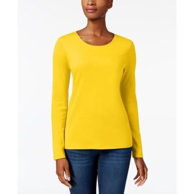 チャータークラブ Charter Club レディース トップス Pima Cotton Long-Sleeve Top Bold Lemon