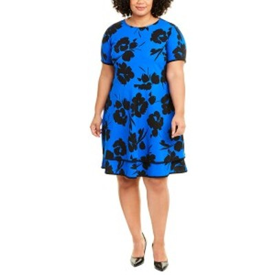ロンドンタイムス レディース ワンピース トップス London Times Plus Two-Tier A-Line Dress cobalt & black