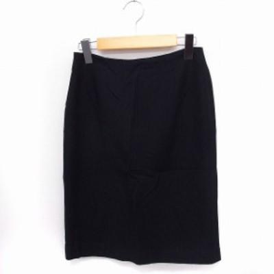 【中古】スキャパ SCAPA スカート タイト ひざ丈 ウール混 コットン 綿 38 ブラック 黒 /FT44 レディース