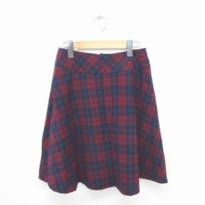 【中古】ルノンキュール Lugnoncure スカート フレア ひざ丈 チェック バックジップ L 赤 紺 レッド ネイビー /TT6