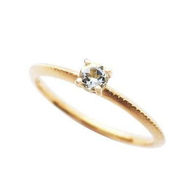 アクアマリン リング 指輪 K18イエローゴールド ラウンド ミル打ち パレット 3月誕生石 プレゼント 天然石 京セラ