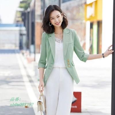 サマージャケット OL スーツジャケット レディース 通勤 夏 着痩せ 薄手 30代 オフィス 大きいサイズ 細身 テーラードジャケット 7分袖 40代