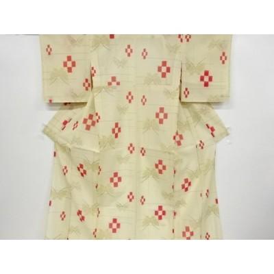 リサイクル 未使用品 紗紬蝶に市松模様織り出し着物