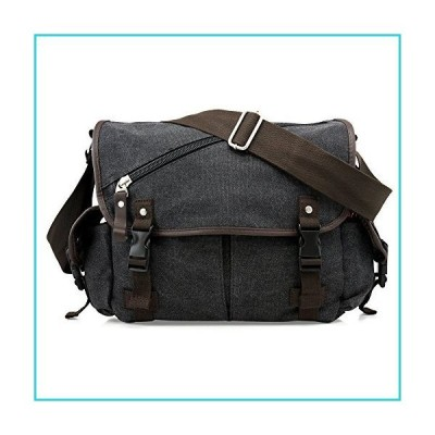 Oct17 Men Messenger Bag School Shoulder Canvas Vintage Crossbody Military Satchel Bag Laptop Black【並行輸入品】