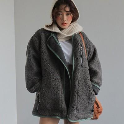 アウター レディース ファッション 秋 冬  フェイクファー ボア ショート丈 オーバーサイズ 大人 防寒 シンプル 上品 トレンド