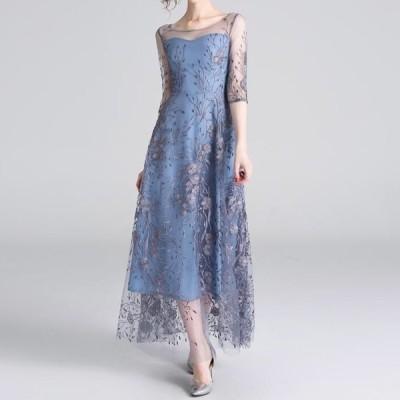上品 フェミニン シースルー 総刺繍 七分袖 ロング ワンピース