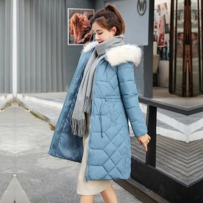 レディースコート ダウンコート フード付き ロングコート 暖かい 冬物 防寒 フェイクファー 体型カバー 可愛い 韓国風 大きいサイズ 通勤 通学 綿入れ