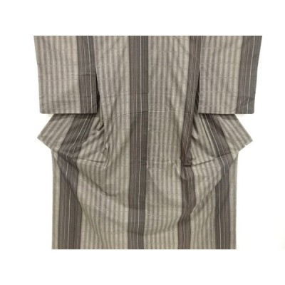 リサイクル 縞に格子織り出し本場泥大島紬着物(5マルキ)