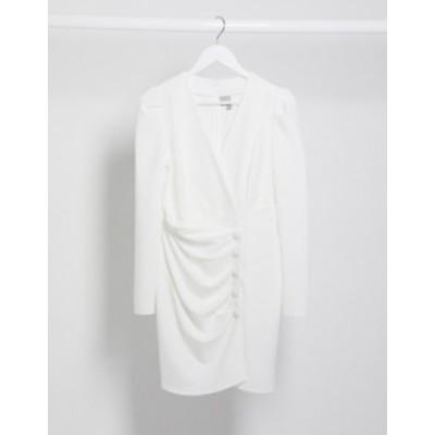 エイソス レディース ワンピース トップス ASOS DESIGN wrap front mini dress with button ruched skirt in ivory Ivory