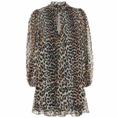 ガニー Ganni レディース ワンピース ワンピース・ドレス Leopard-print georgette minidress Leopard