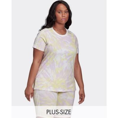 アディダス adidas Originals レディース Tシャツ トップス Plus three stripe t-shirt in green tie dye マルチカラー