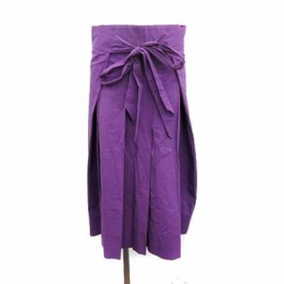 【中古】ドゥロワー Drawer 18SS サイドリボン タックスカート ロング コットン 36 紫 /KH レディース