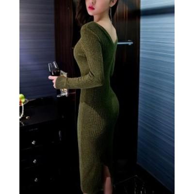 ワンピース ロング 長袖 ニット 緑 セクシー きれいめ 秋物 冬物 最新 レディース ファッション 2020 人気 可愛い 大人
