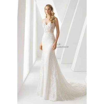 マーメイドライン ウエディングドレス Vネック パーティドレス レディース ロングドレス 二次会ドレス 披露宴 結婚式 ドレス マーメイドライン レース