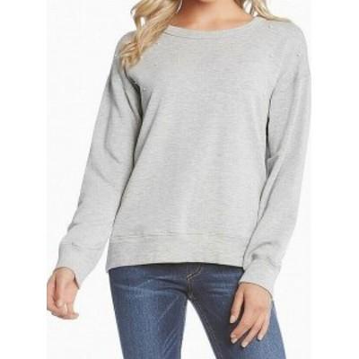 Karen Kane カレンケーン ファッション トップス Karen Kane NEW Gray Faux Pearl Womens Size Large L Sweatshirt Crew