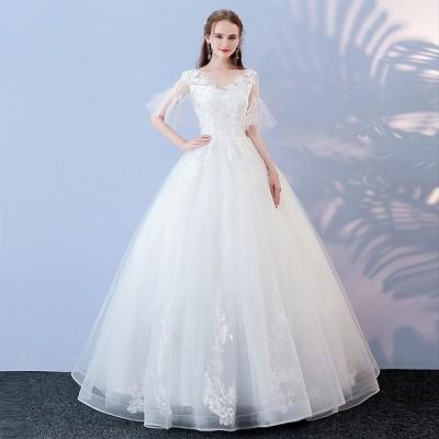 ウエディングドレス 結婚式 長袖 ウェディングドレス 安い 秋冬 プリンセス 二次会 エンパイア 花嫁 ドレス 披露宴 ロングドレス ブライダル 白 大きいサイズ