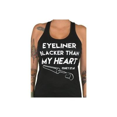 Tシャツ レディース 海外セレクション Women's Pinky Star Eyeliner Blacker Than My Heart Racerback Tank Top Rockabilly