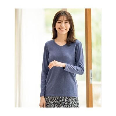 シンプルVネックTシャツ(長袖)(洗濯機OK) S M L LL|2143-331440