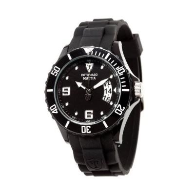Detomaso Mattia Unisex Quartz Watch with Black Dial Analogue Display and Black Silicone Strap DT2011-B 並行輸入品