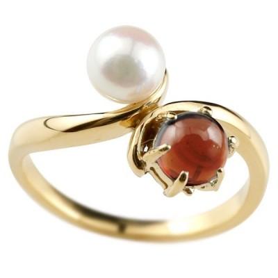 リング ゴールド パールリング 真珠 フォーマルガーネット イエローゴールドk1010金 1月誕生石 ピンキーリング 指輪 宝石 送料無料