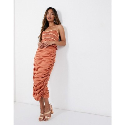 エイソス ASOS DESIGN レディース ワンピース ミドル丈 ワンピース・ドレス Corset Pleat Bodice Satin Midi Dress With Drape Skirt ラスティック