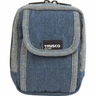 トラスコ中山 TDC-H101 デニム携帯電話用ケース 2ポケット ブルー