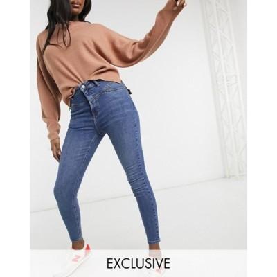 リクレイム ヴィンテージ レディース デニムパンツ ボトムス Reclaimed Vintage inspired the '90 seam detail skinny jean in mid blue wash