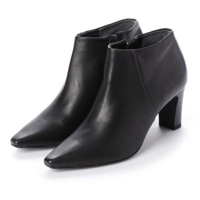 メルモ MELMO ポインテッドトゥショートブーツ (ブラック)