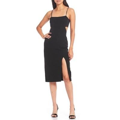 ジャンビニ レディース ワンピース トップス Lillian Square Neck Sleeveless Cutout Crepe Midi Dress