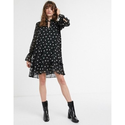 アンドアザーストーリーズ レディース ワンピース トップス & Other Stories polka dot mini smock dress in black