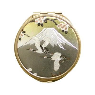 日本のおみやげ 日本のお土産で喜ばれるもの 和雑貨 和小物 外国人へのプレゼント 彫金コンパクトミラー(丸)/富士山
