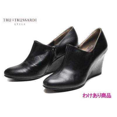 わけあり商品 トラサルディ TRUSSARDI trl7299 ファスナー付きブーティーパンプス ブラック レディース 靴