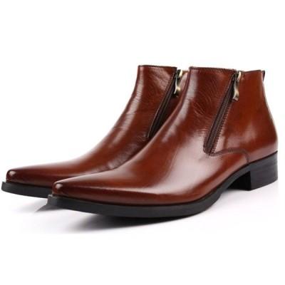 W メンズ レザー ブーツ ビジネスシューズ 本革 サイドジップ ロングノーズ 革靴 紳士靴 ウエスタンブーツ ショートブーツ カジュアル (ブラウン) 0838-506
