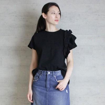 アットワン atONE 片袖フリルデザインTシャツ (BLACK)