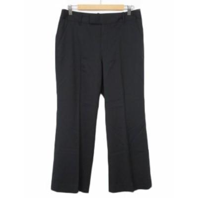 【中古】エディーバウアー EDDIE BAUER パンツ ワイド センタープレス ウール 8 黒 ブラック レディース