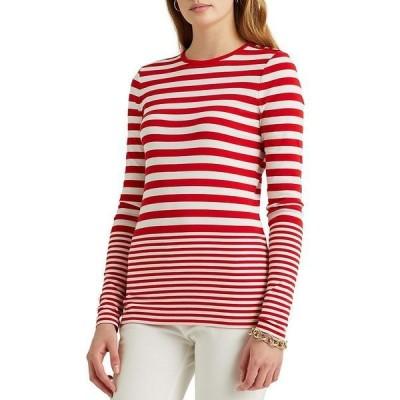 ラルフローレン レディース Tシャツ トップス Stripe Print Snap-Shoulder Trim Long Sleeve Knit Top White/Lipstick Red